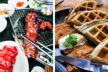 meat in chopsticks (left); waffles and meat (right)