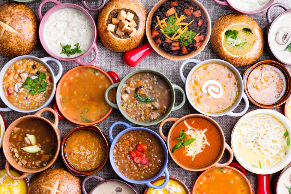 aerial view of bowls of soups on a table