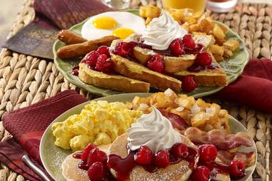 pancakes and french toast breakfast plates