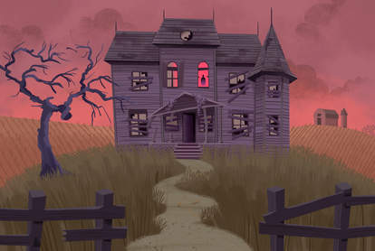 haunted house illustration