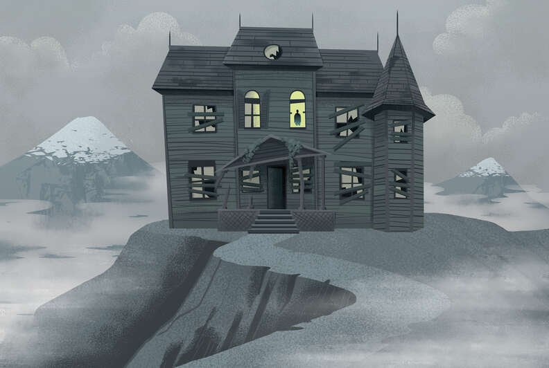 haunted house drawing