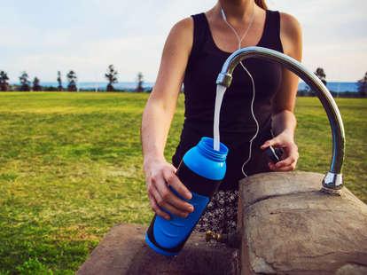 Refillable bottle, drinking water, fountain