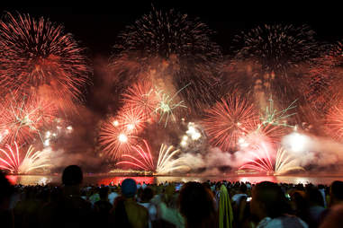 Fireworks display at Copacabana beach