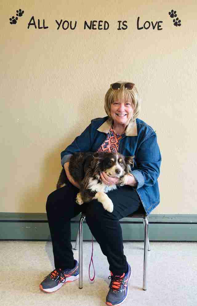 Honey the dog and her adopter at the Southern Colorado shelter