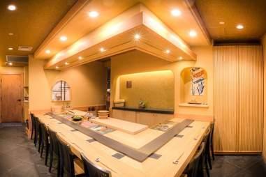 sushi bar in restaurant dining room
