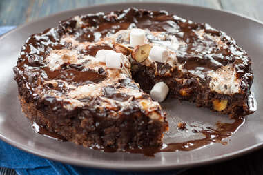 """Chocolate cake """"Mississippi Mud"""" Brownie with marshmallow and nuts"""