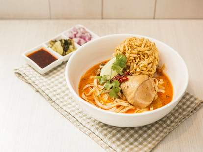 Khao soi thai food spicy coconut curry noodles chicken