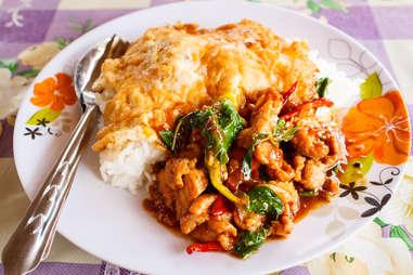 rice thai omelette omelet kai jeow moo sab pork stuffed