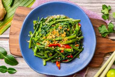 veggie morning glory spicy pad pak boong fai dang chili stir fried