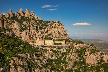 View of Montserrat Monastery from Barcelona, Spain