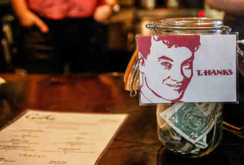 Coffee shop tip jar