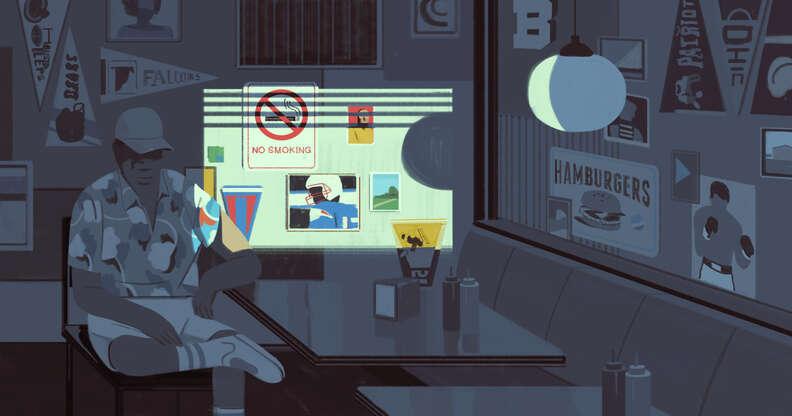 illustration of man in dark restaurant