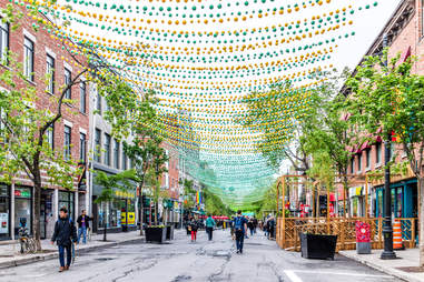 Sainte Catherine street in Montreal's Gay Village in Quebec