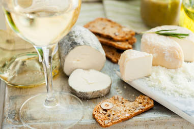 white wine and goat cheese