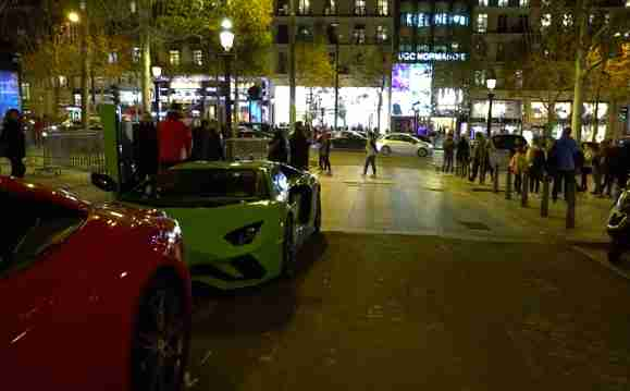Lamborghini on Champs Elysees where pet lion was found
