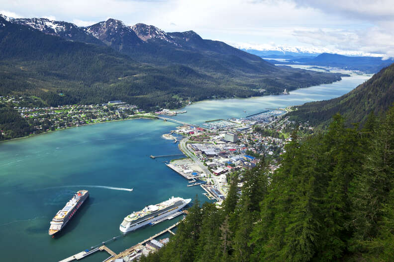 view of Douglas Island, the Gastineau Channel and Juneau, Alaska, U.S.A.