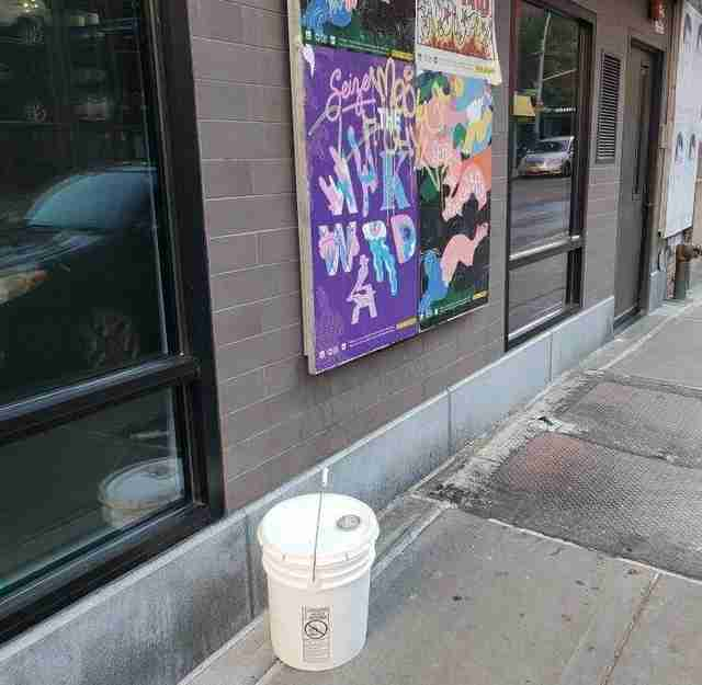 A bucket left in front of Animal Haven in NYC