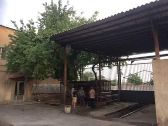 Bear's cage at bus depot