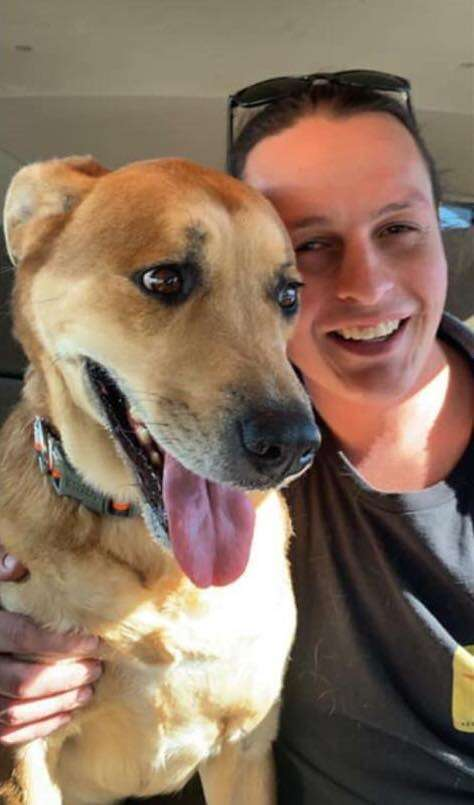 Wall-E the shelter dog and his adopter Lynn Lee