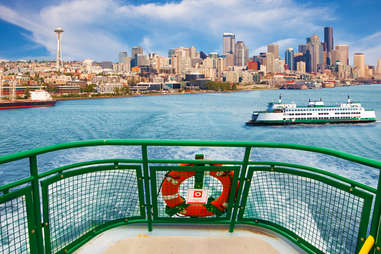Ferry boat with Seattle skyline