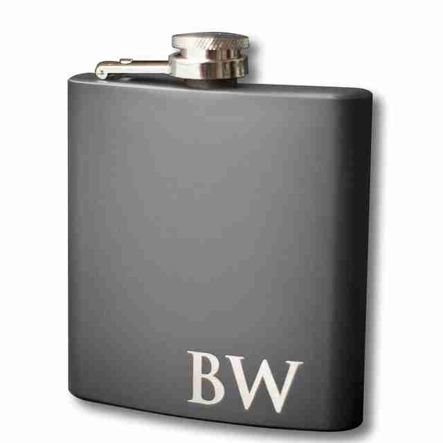 Custom Engraved Black Flask