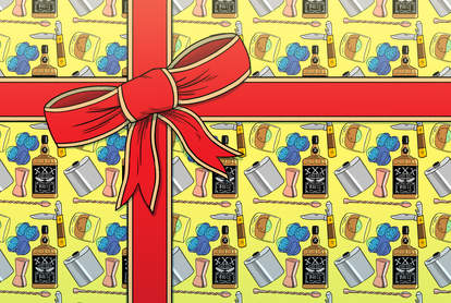 present with whiskey wrapping paper illustration