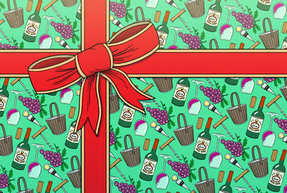 illustration of gift wrapped in wine printed wrapping paper