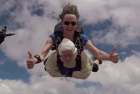 skydiving old woman