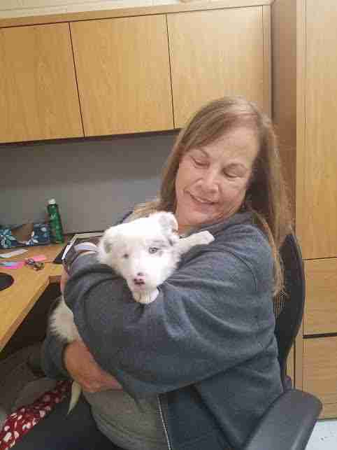 Woman holding white puppy in her arms