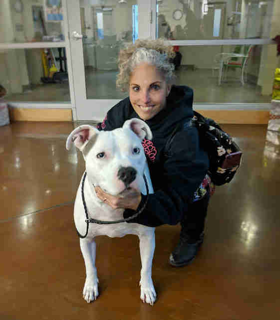 Valcor the deaf dog and his new mom