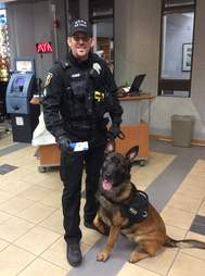 Police dog Jary and his handler Senior Officer Hower