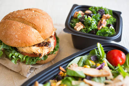 grilled chicken sandwich and salad