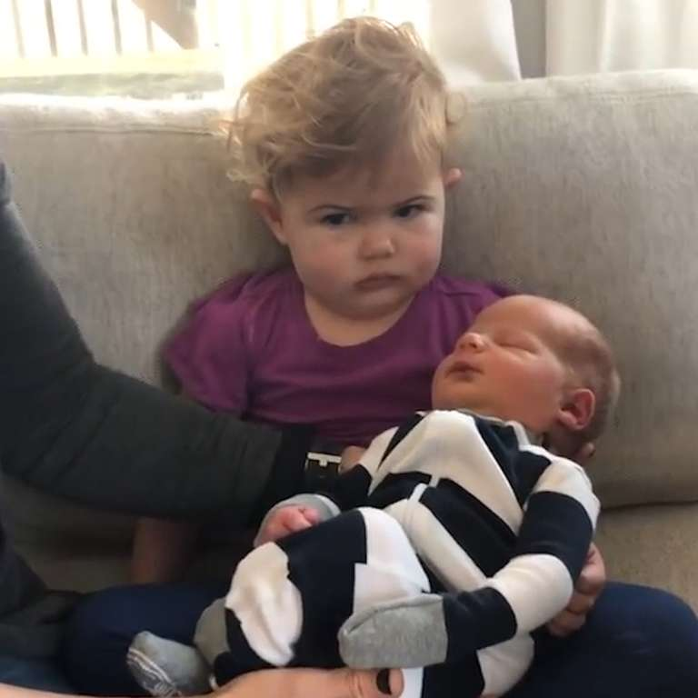 Toddler Big Sister Was Not Impressed With Her New Sibling -3208