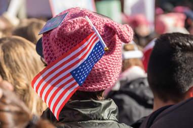 women's march la pussy hat button