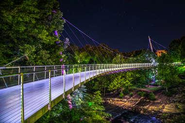 Illuminated Liberty Bridge in Falls Park, Downtown Greenville