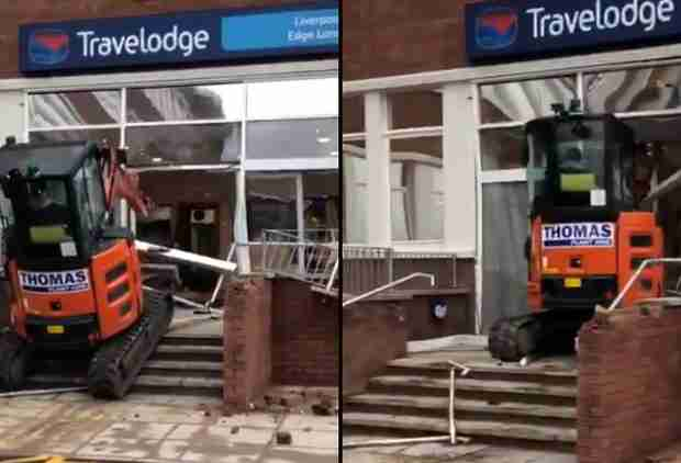 Disgruntled Construction Worker Demolishes Hotel Lobby With a Tractor