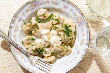 Pelmeni mini dumplings in bowl