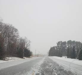 An icy road in Zimmerman, Minnesota