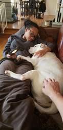Presley, nicknamed Big Mama, snuggles her foster