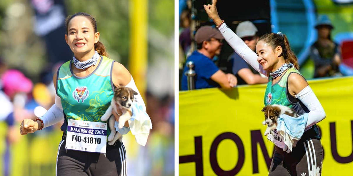 Woman Finishes Marathon Carrying Puppy She Rescued Along The Way