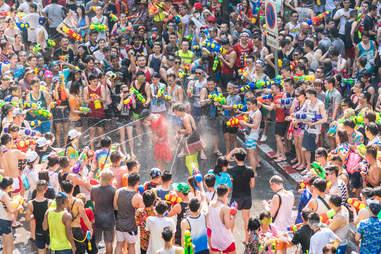 Songkran Water Festival in Silom, Bangkok, Thailand