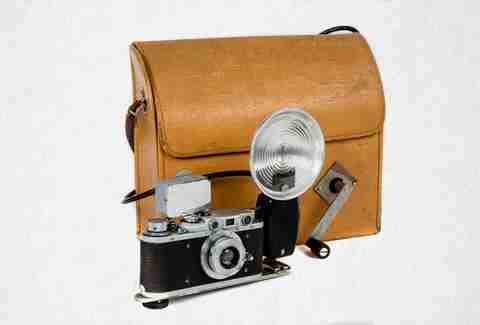 old camera and briefcase