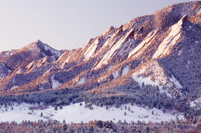 flatirons colorado snowy