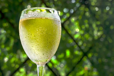 white wine in sweaty glass in front of green leaves