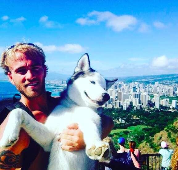 Man and his adventure husky