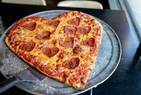 heart-shaped pizza for Valentine's Day