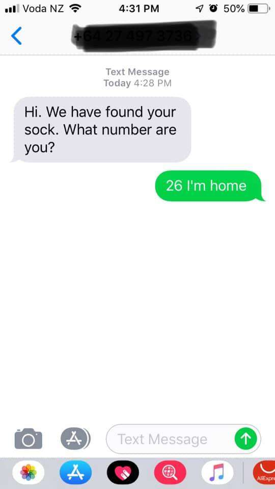 Text from sock-stealing cat's human