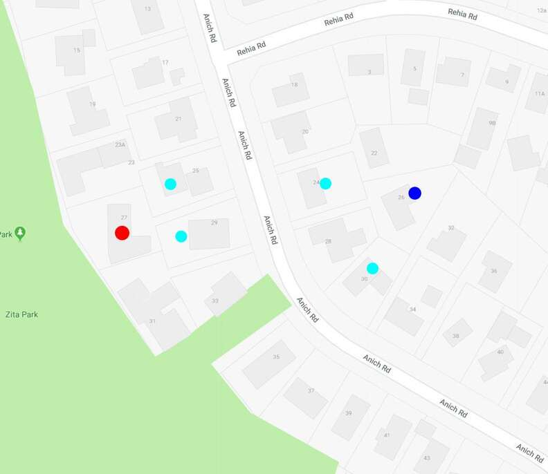Map of sock-thieving cat's hits