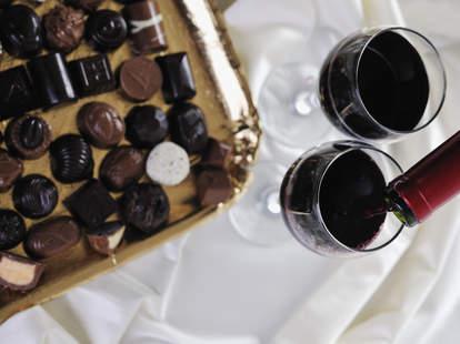 chocolates and wine glasses