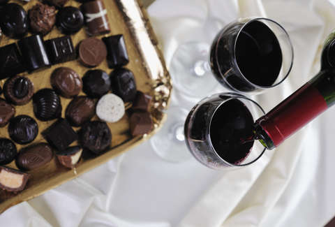 chocolates and wine glasses